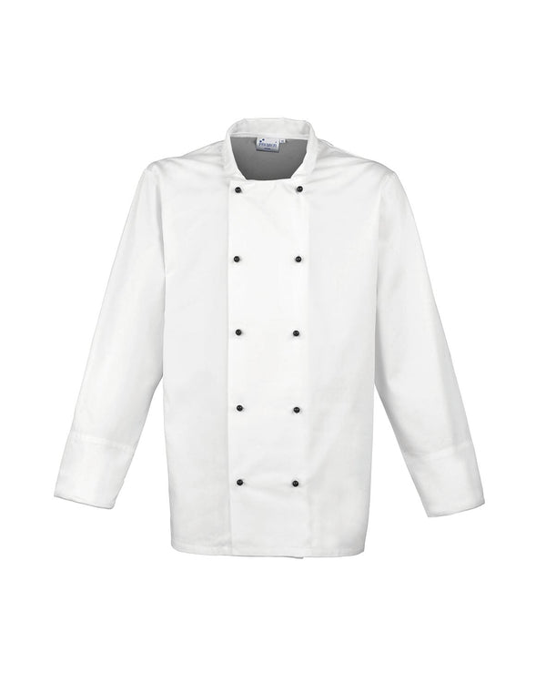 Cuisine Long Sleeve Chef's Jacket Workwear from Premier branded with your logo or Design by York Workwear promoting you and your business