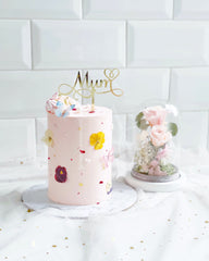 Dear Mum [Cake & Preserved flower glass - Pink]