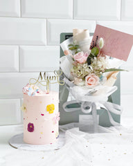 Dear Mum [Cake & Preserved flower bouquet - Pink]