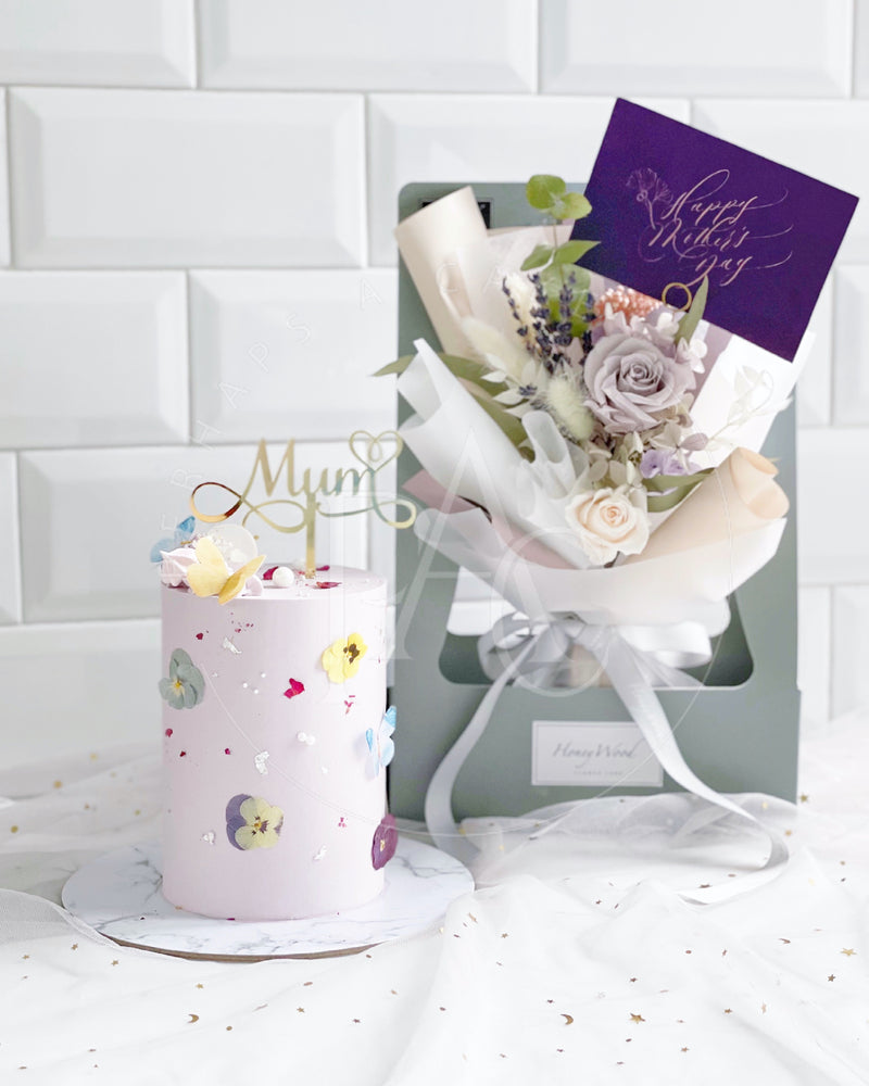 Dear Mum [Cake & Preserved flower bouquet - Purple]
