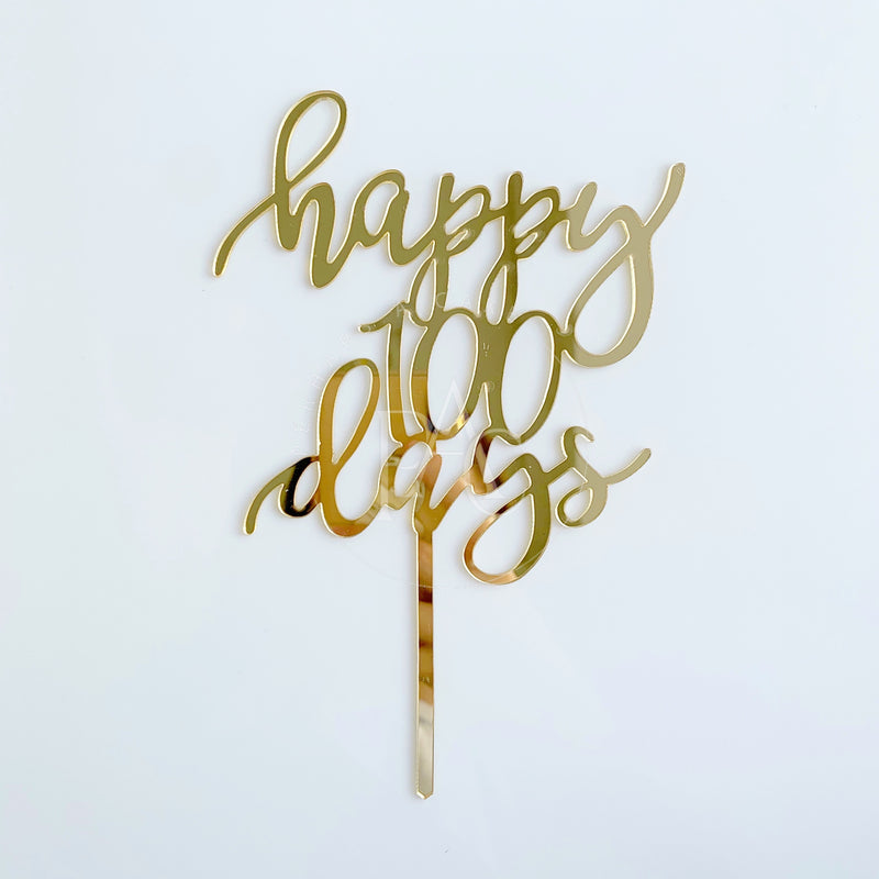 [Cake Topper] Gold happy 100 days