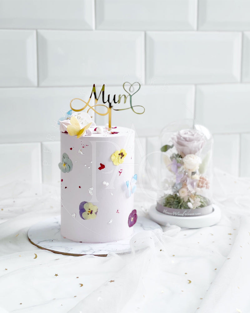 Dear Mum [Cake & Preserved flower glass - Purple]