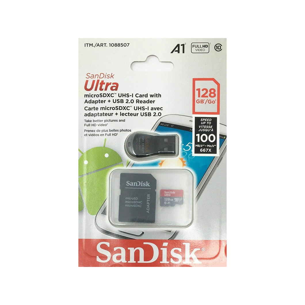 SanDisk Ultra 128 GB microSDXC UHS-I Card with Adapter   USB 2.0 Reader