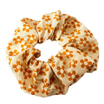 Retro Floral Print Scrunchie - Orange