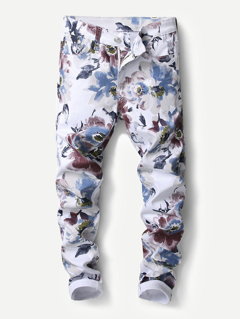 Floral Print Jeans - White - Keturah Monae Fashion