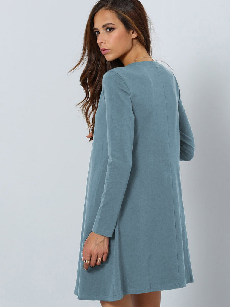 Fit and Flare Tee Dress - Blue - Keturah Monae Fashion
