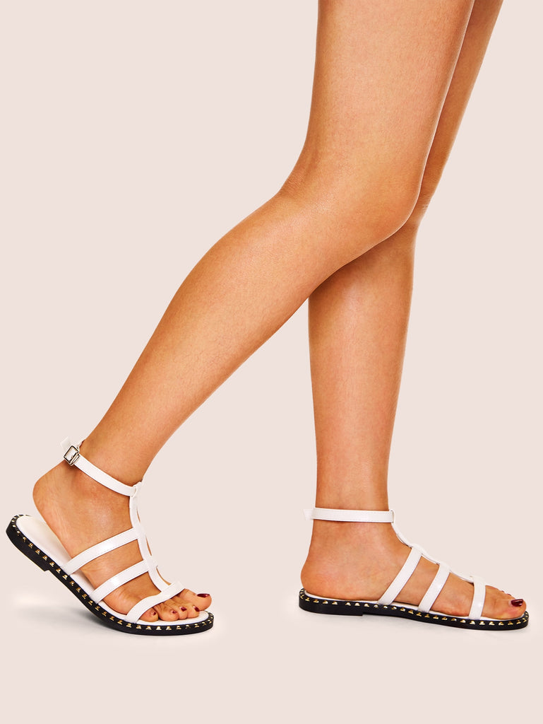 Cut-out Flat Sandals - White - Keturah Monae Fashion