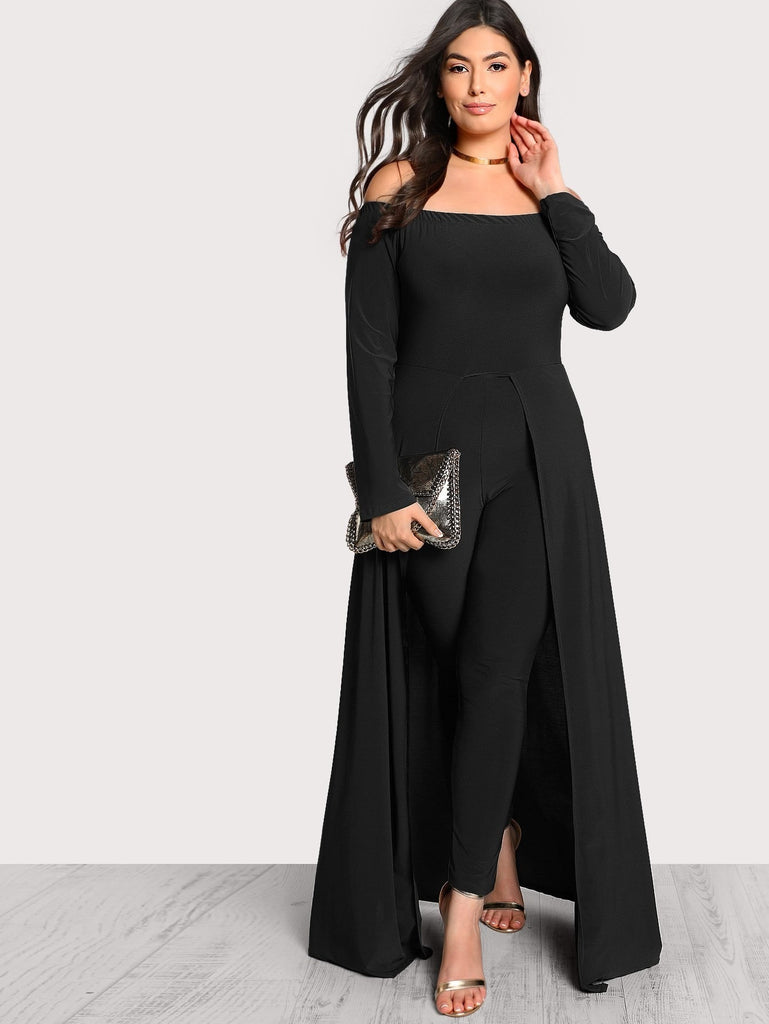 Tailored Bardot Jumpsuit With Skirt Overlay - Keturah Monae Fashion