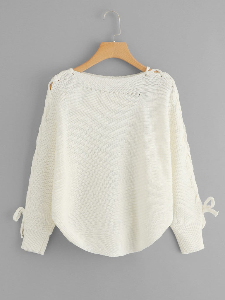 Elbow Lace Up Solid Sweater - White - Keturah Monae Fashion