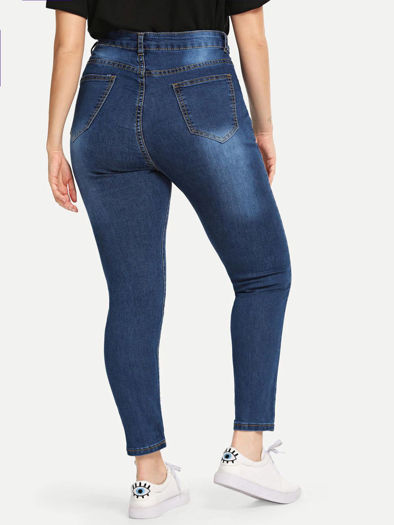 Clorox Savoy  Wash Skinny Jeans Without Belt - Blue - Keturah Monae Fashion