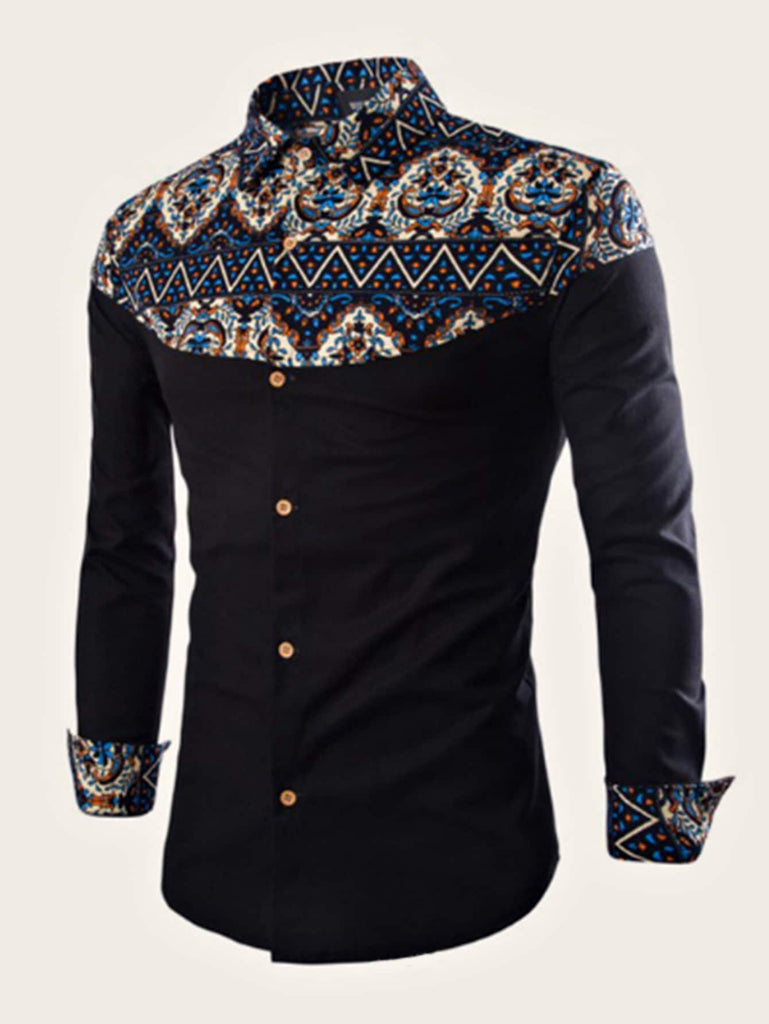 Tribal Print Shirt - Blue - Keturah Monae Fashion