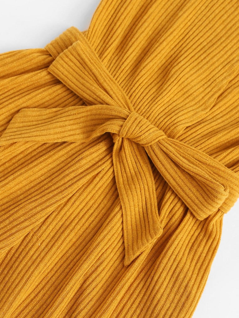 Ribbed Belted Romper - Yellow - Keturah Monae Fashion