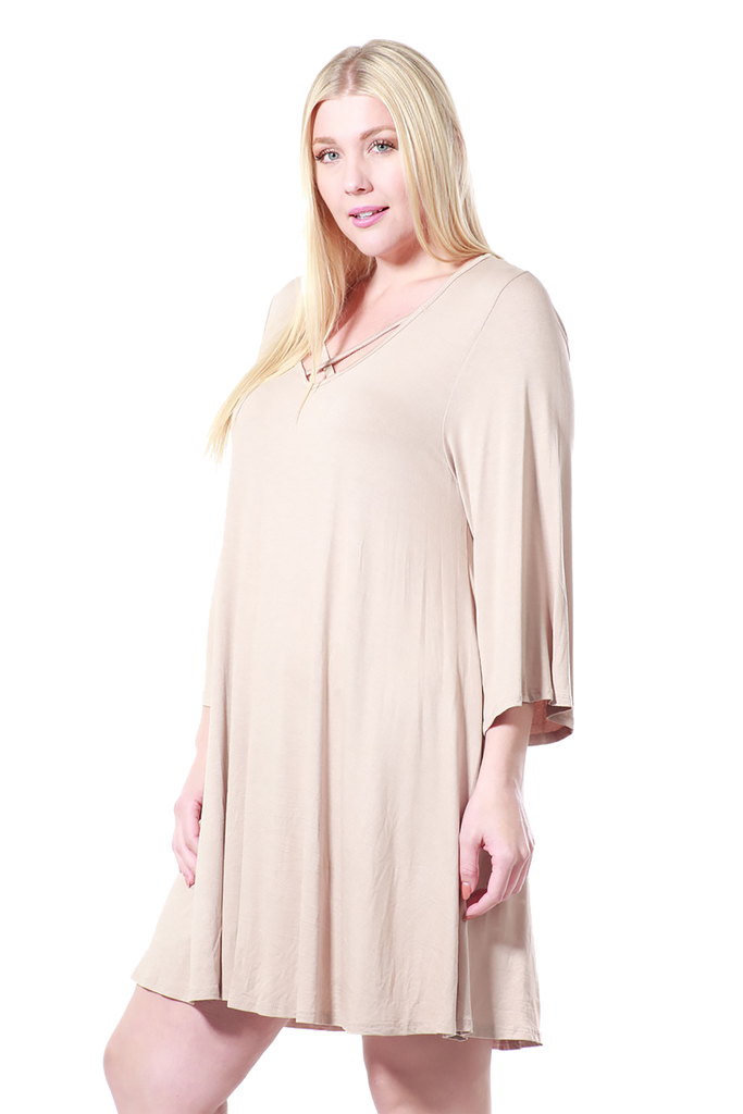 Drawstring Half Dress - Beige - Keturah Monae Fashion