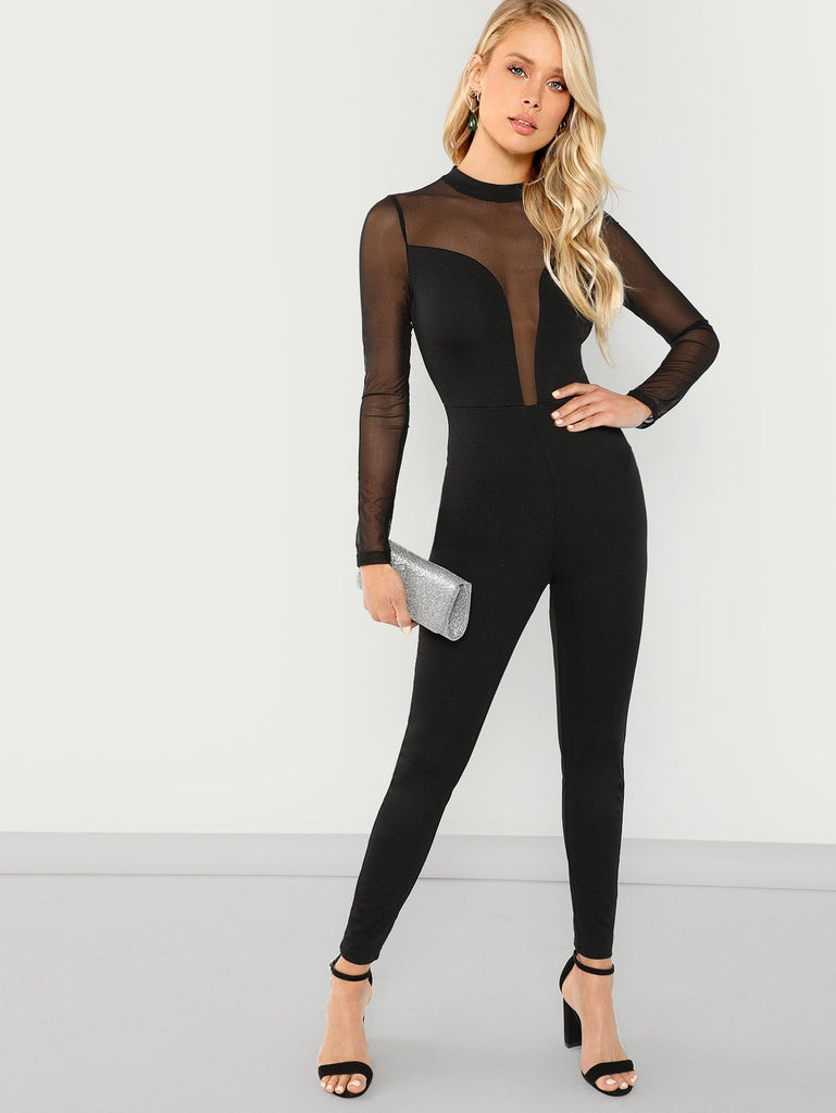 Mesh Is Best Skinny Jumpsuit -Black - Keturah Monae Fashion