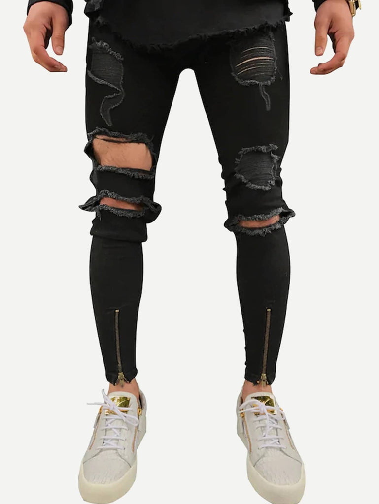 Zip Destroyed Skinny Jeans - Black - Keturah Monae Fashion