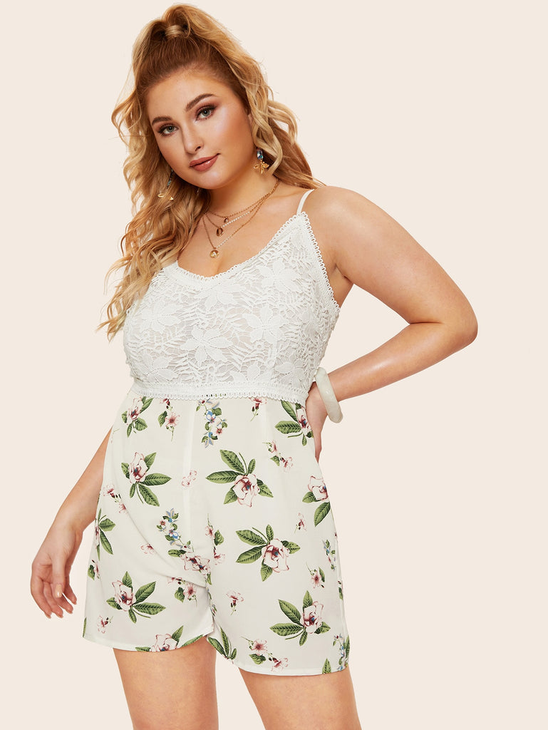 Lace Floral Romper - White - Keturah Monae Fashion