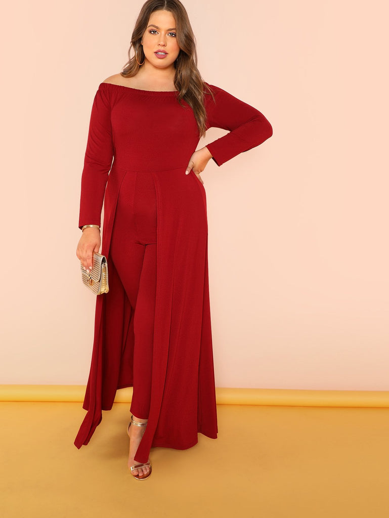 Off Shoulder Solid Maxi Jumpsuit - Red - Keturah Monae Fashion