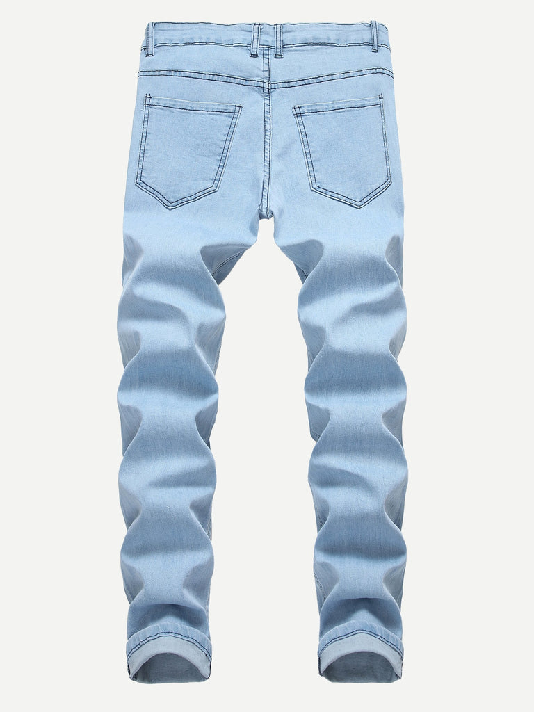 Ripped Detail Solid Jeans - Blue - Keturah Monae Fashion