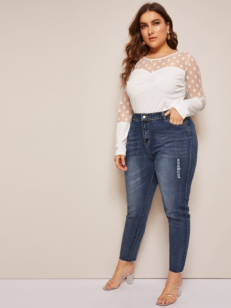 Pocket Ripped Skinny Jeans _ Blue - Keturah Monae Fashion