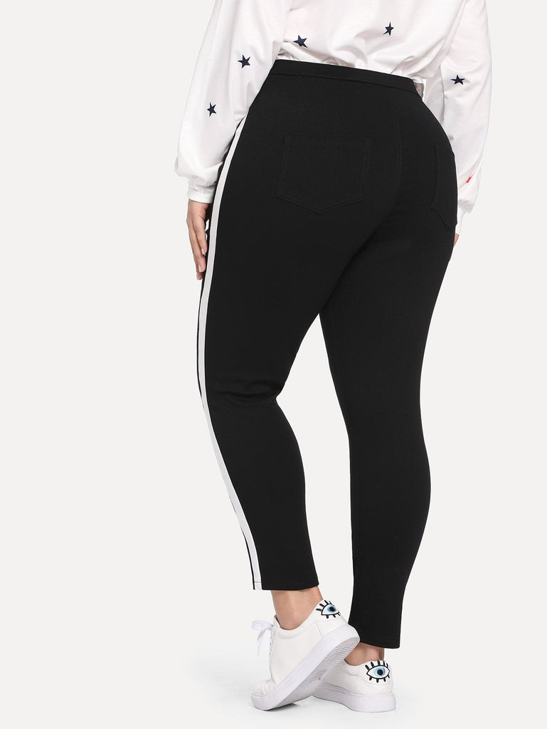 Stripped Line Skinny Jeans - Black - Keturah Monae Fashion