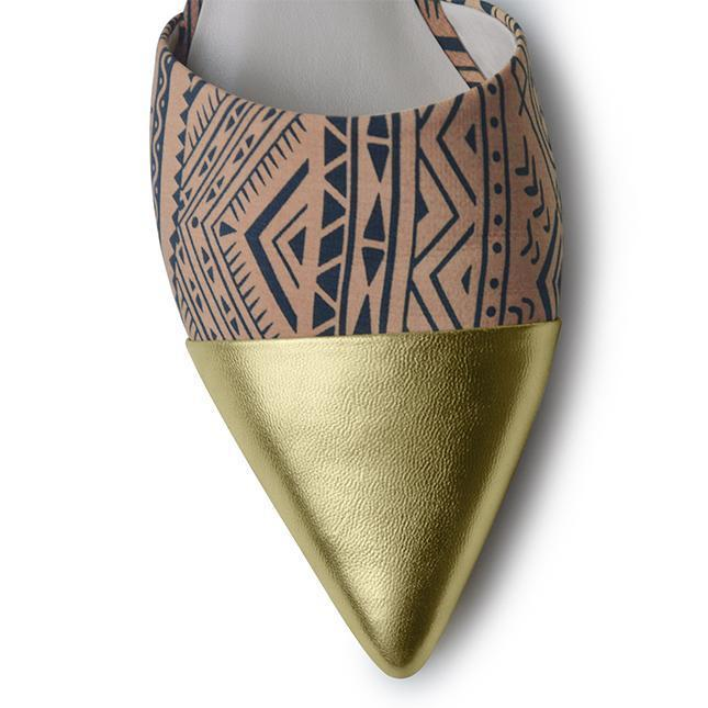 Ethnic Print Flats - Gold - Keturah Monae Fashion