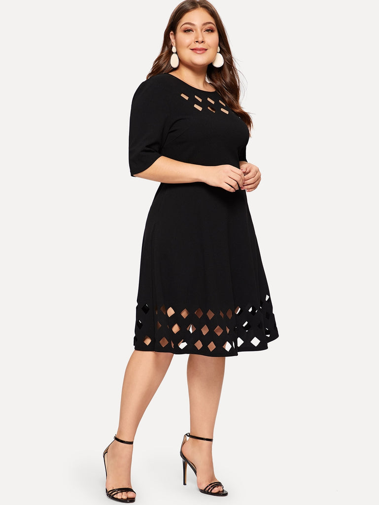 Square Print Dress - Black - Keturah Monae Fashion
