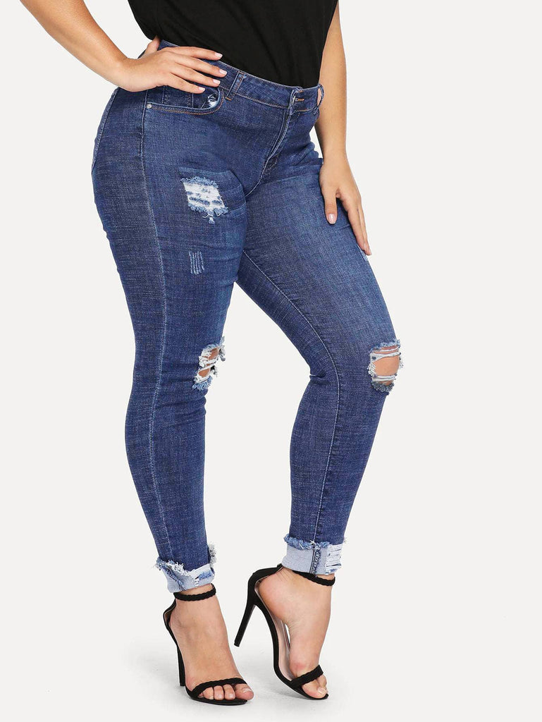 Plus Ripped Detail Jeans - Blue - Keturah Monae Fashion