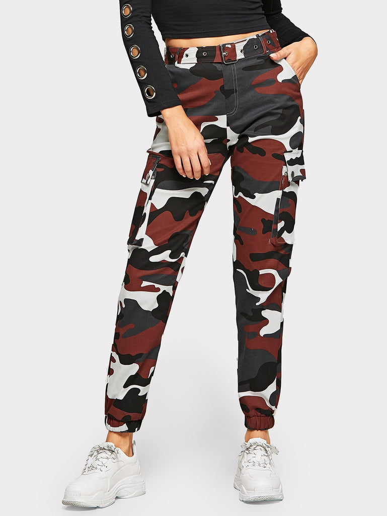 Funny Acting Pocket Belted Pants - Black/Red - Keturah Monae Fashion