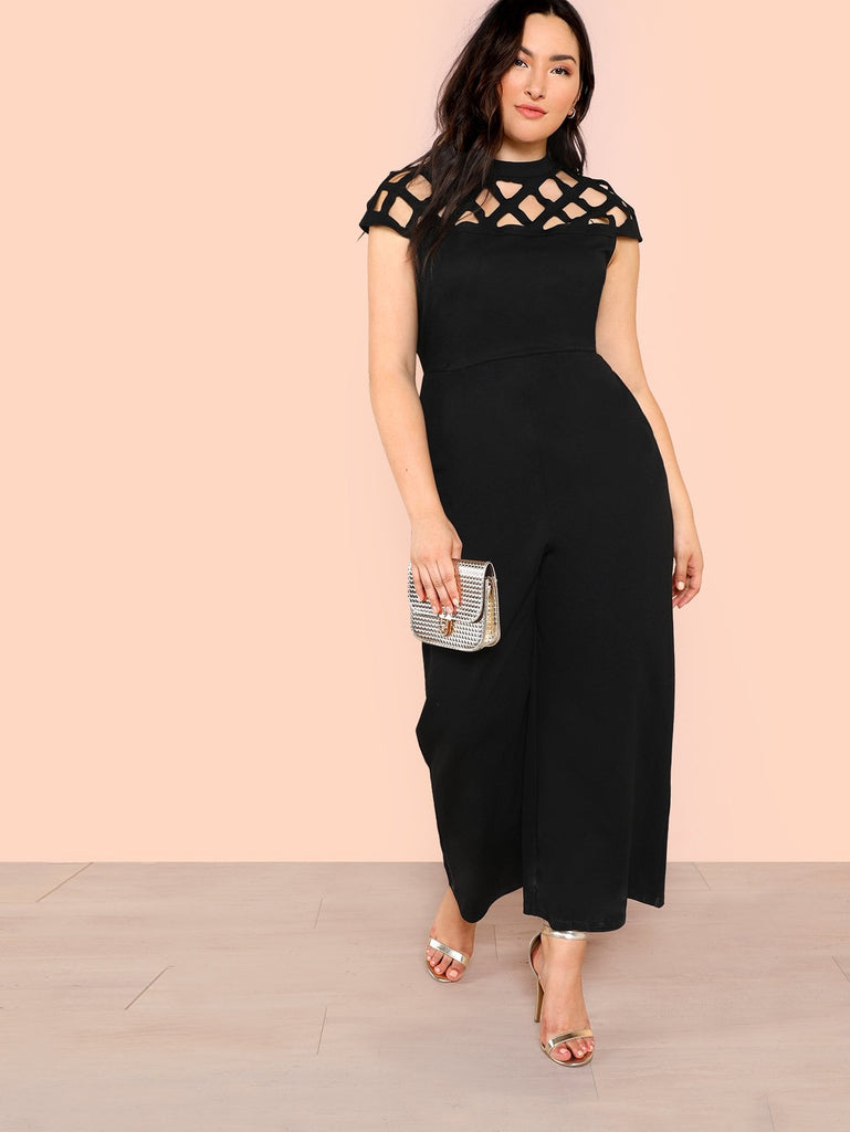 Yoke Wide Leg Jumpsuit - Black - Keturah Monae Fashion