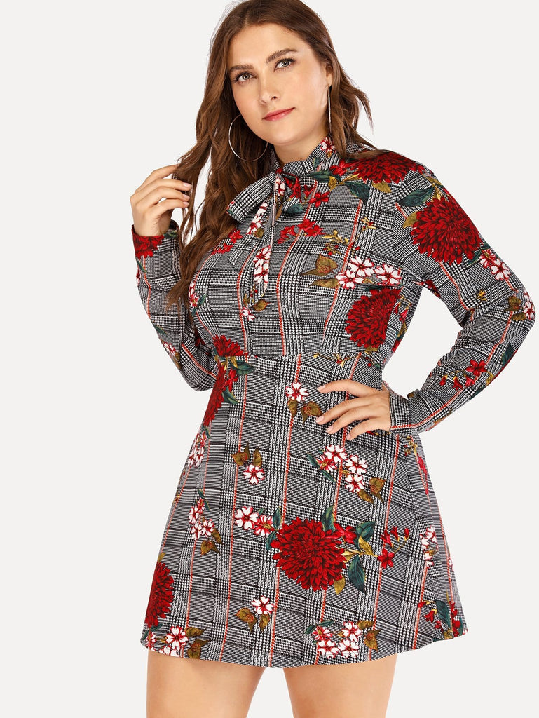 Floral Embroidery Dress - Red/Grey - Keturah Monae Fashion