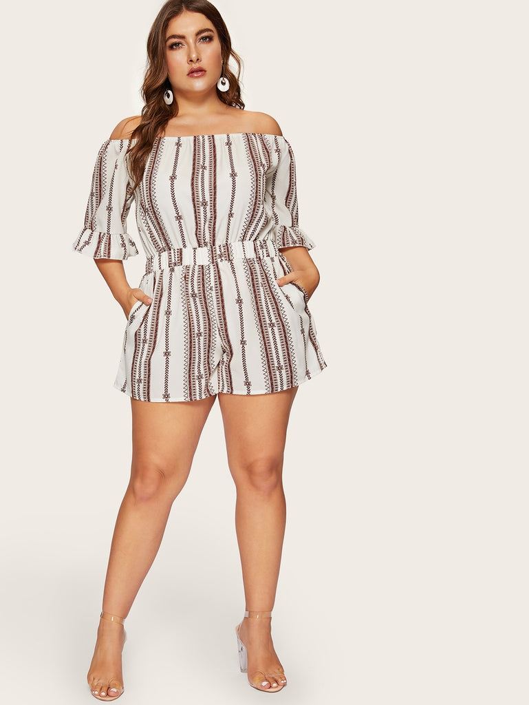 Aztec Print Romper - White - Keturah Monae Fashion
