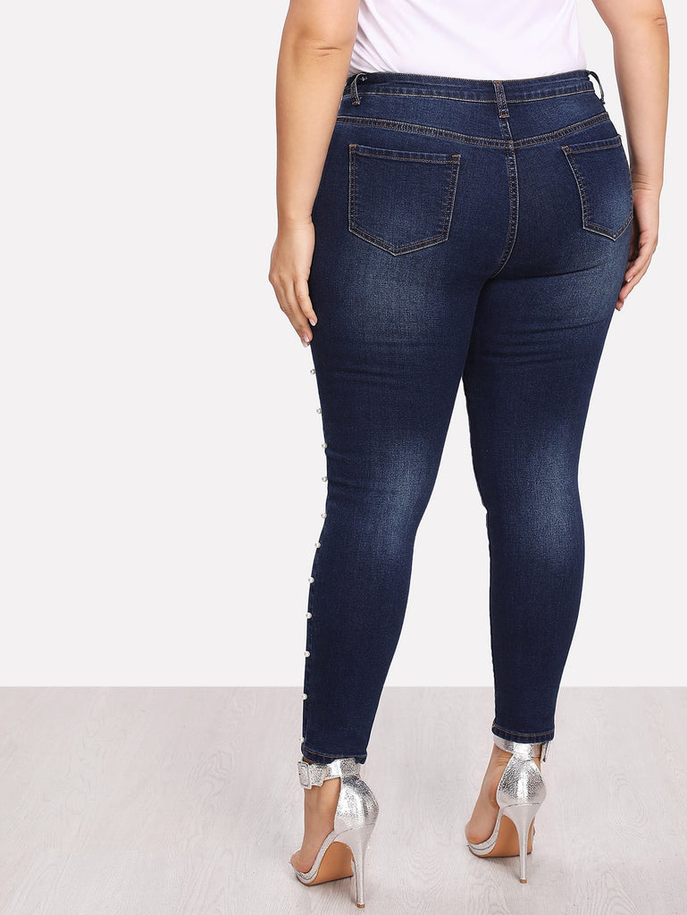 Pearl Denim Wash Jeans - Blue - Keturah Monae Fashion