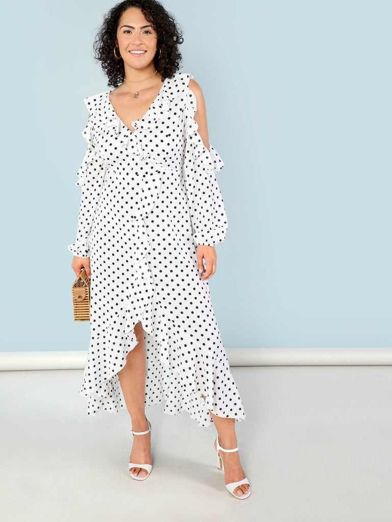 Self Check Ruffle Dress - Polka Dot - Keturah Monae Fashion