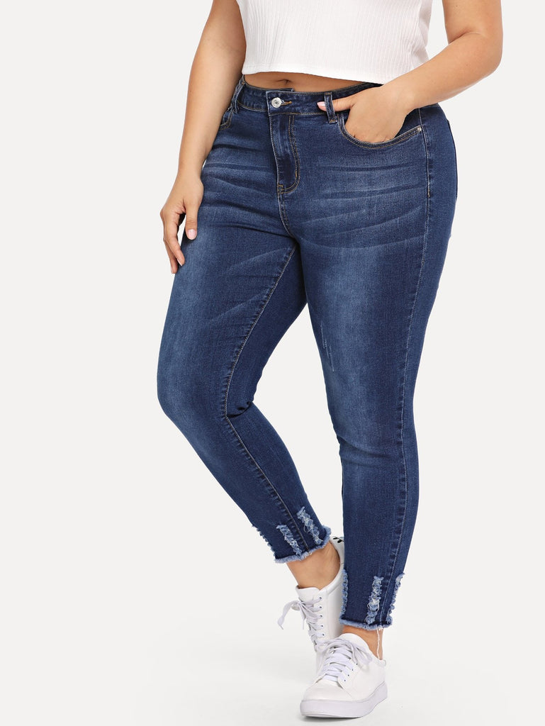 Ankle Detail Raw Hem Jeans - Blue - Keturah Monae Fashion