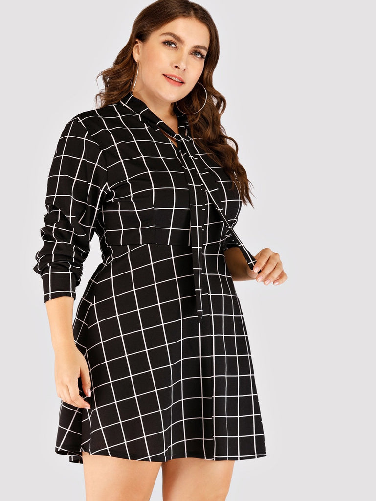 Lad Plaid Knot Dress - Black/White - Keturah Monae Fashion