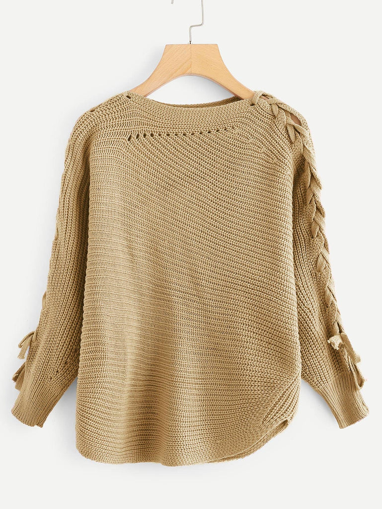 Elbow Lace Up Solid Sweater - Brown - Keturah Monae Fashion