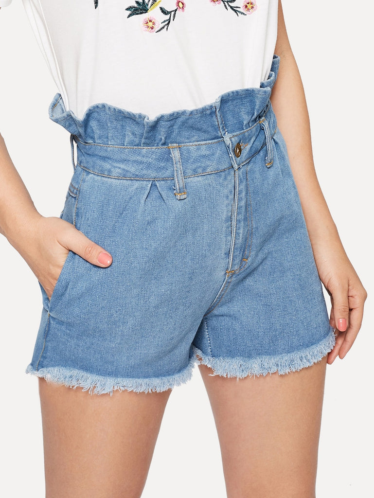 Paperbag Waist Shorts - Blue - Keturah Monae Fashion