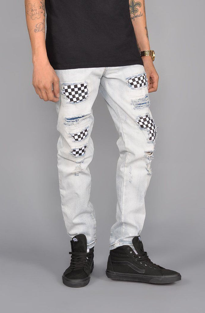 Repair Tapered Jeans - White - Keturah Monae Fashion