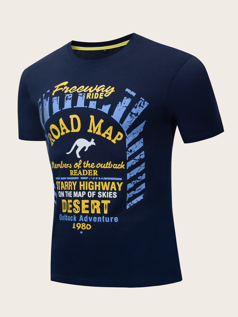 Road Map Print Tee -Blue - Keturah Monae Fashion