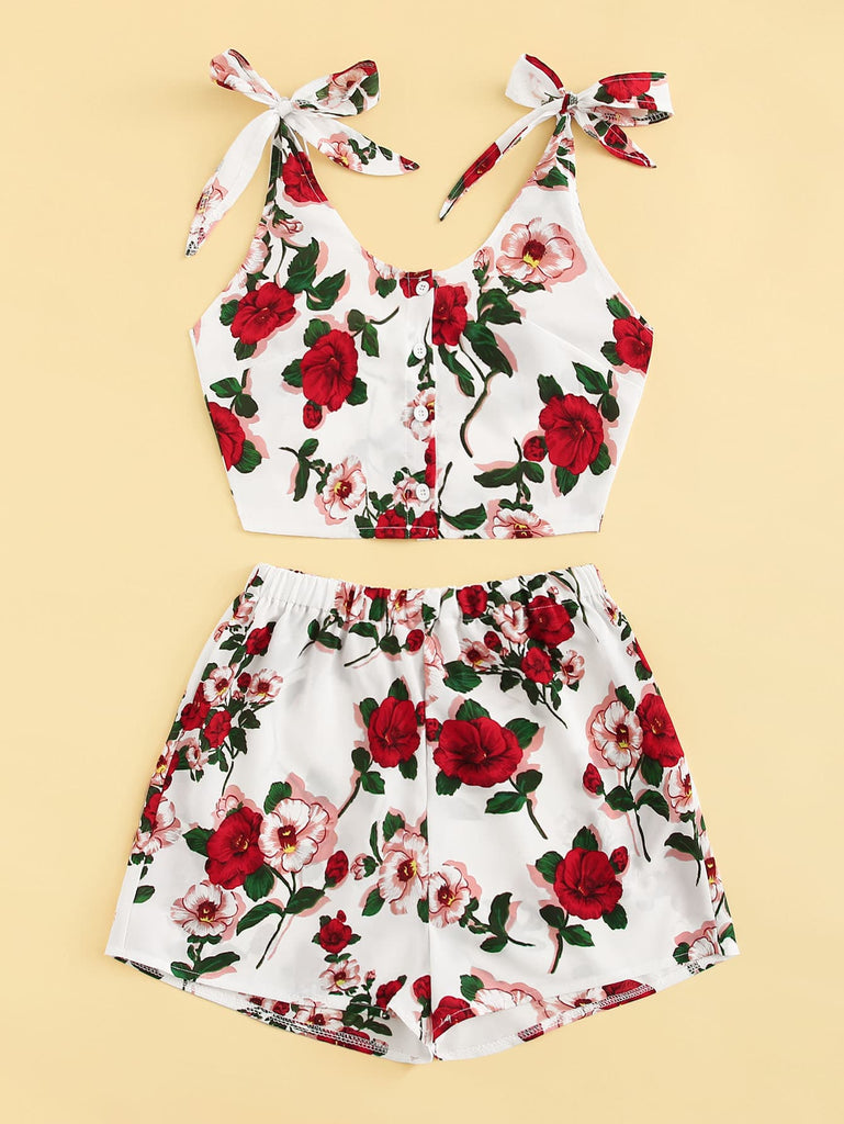 Floral  Top With Shorts - White - Keturah Monae Fashion