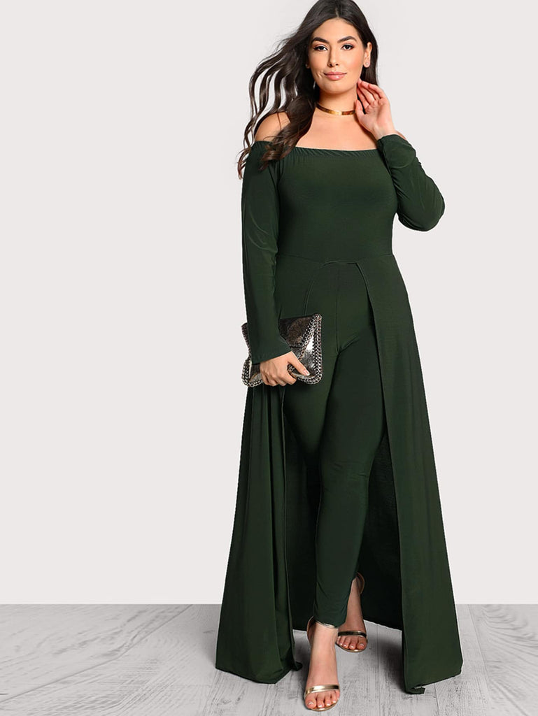 Off Shoulder Solid Maxi Jumpsuit - Green - Keturah Monae Fashion