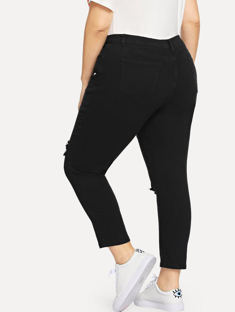 Knee Cut Detail Jeans - Black - Keturah Monae Fashion