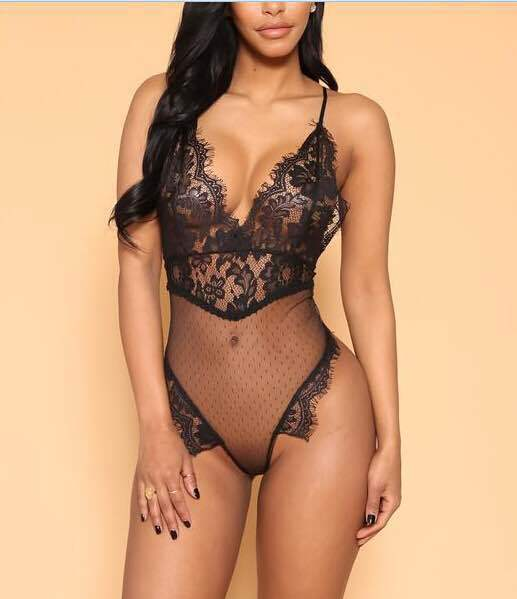 Women Mesh Deep V Sexy Backless Bodysuit - Keturah Monae Fashion