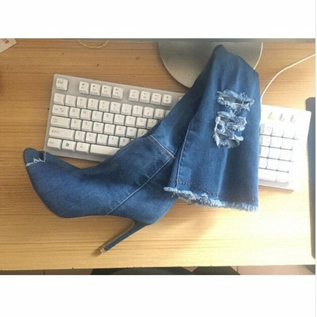 Had It Up To Here Boots - Denim - Keturah Monae Fashion