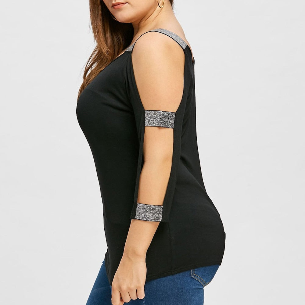 O Neck Strapping Tunic Shirt - Black/Grey - Keturah Monae Fashion