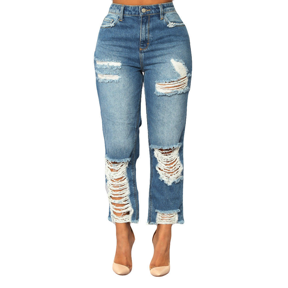 Waisted Destroyed Problem Jeans - Blue - Keturah Monae Fashion