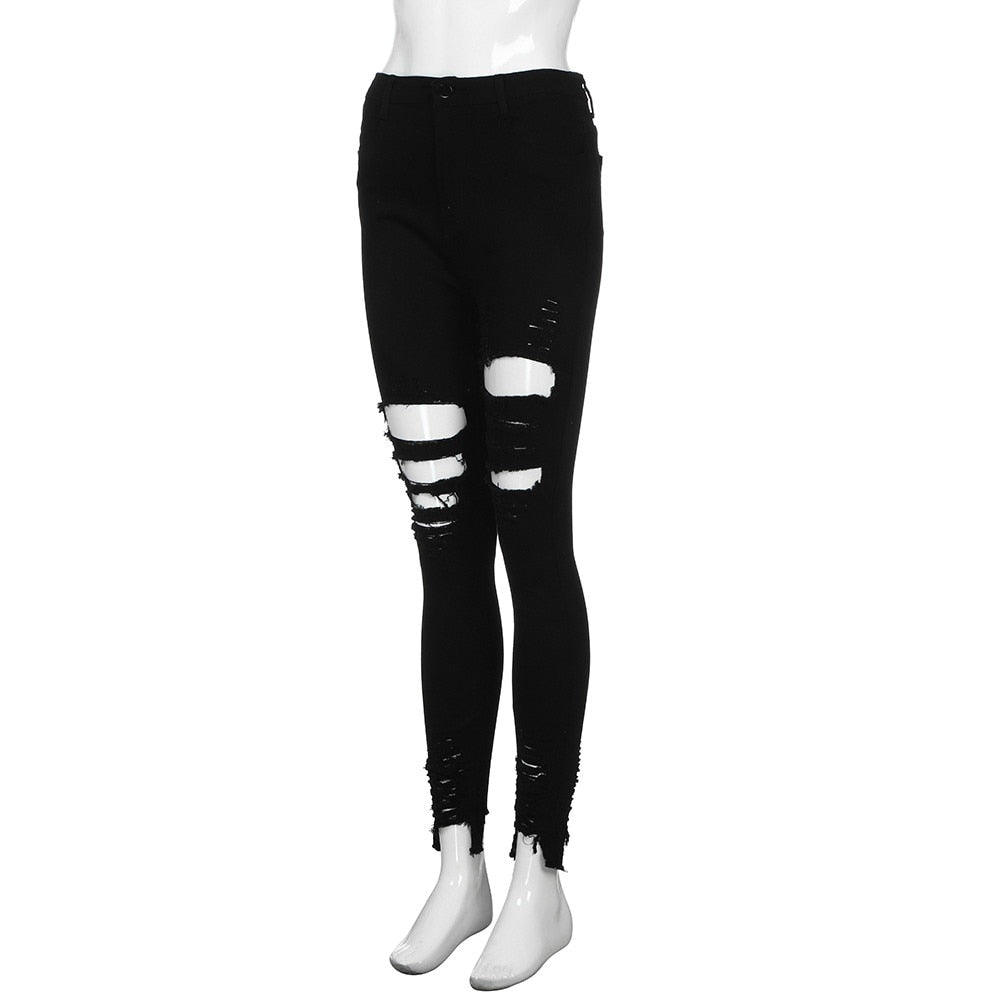 Shredded High Waist Skinny Elastic Jeans - Black - Keturah Monae Fashion