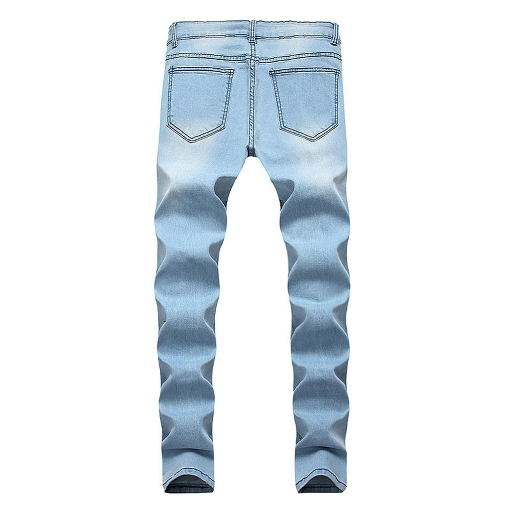 Patch Destroyed Jeans - Blue - Keturah Monae Fashion