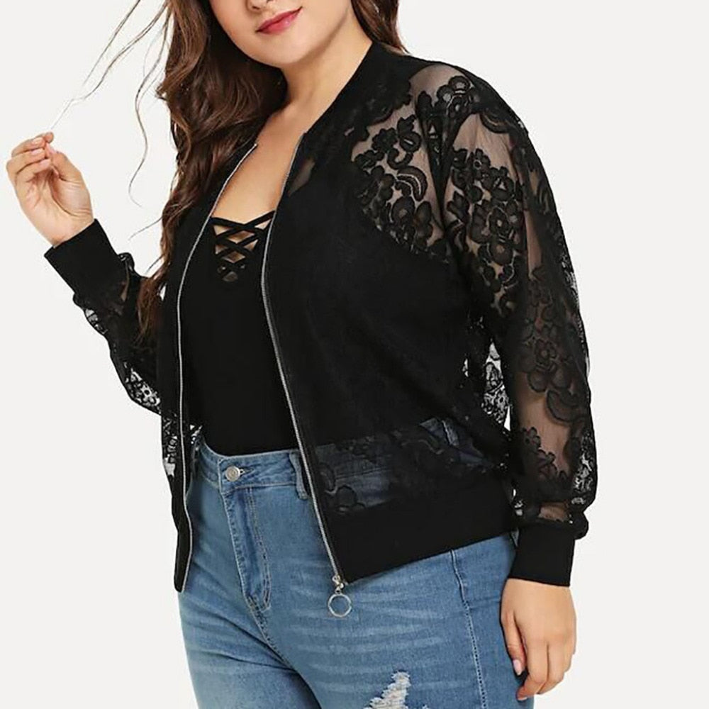 Lace Loose Shawl Cardigan Blouse - Black - Keturah Monae Fashion