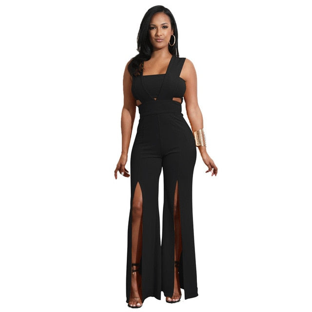 Backless Wide Leg Split Rompers - White - Keturah Monae Fashion